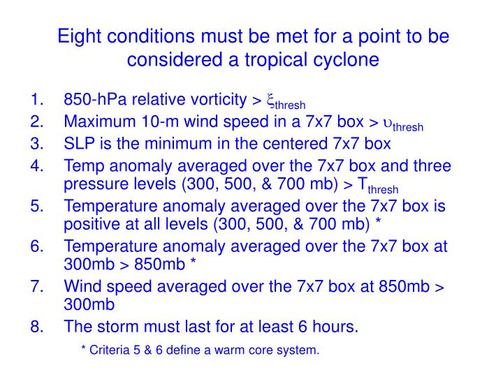 Eight conditions must be met for a point to be considered a tropical cyclone