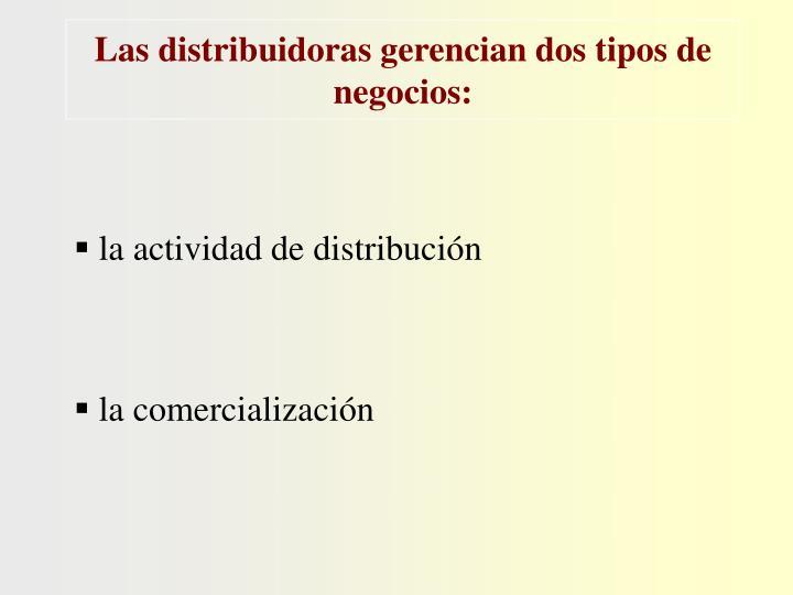 Las distribuidoras gerencian dos tipos de negocios:
