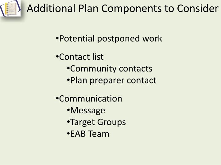 Additional Plan Components to Consider
