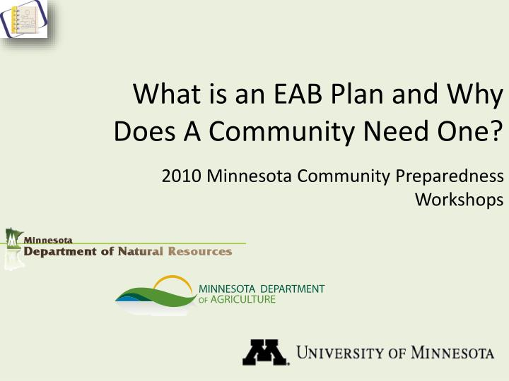What is an eab plan and why does a community need one
