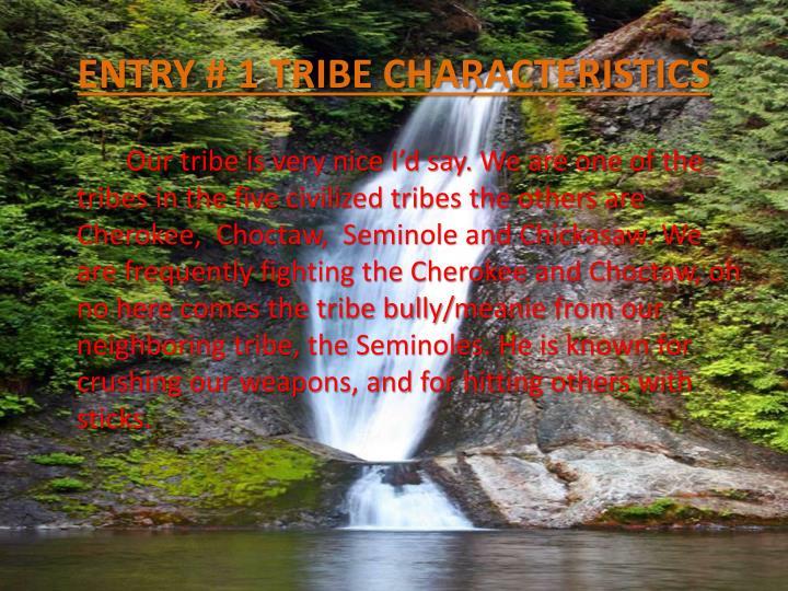 ENTRY # 1 TRIBE CHARACTERISTICS