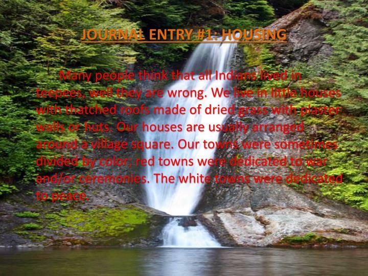 Journal entry 1 housing