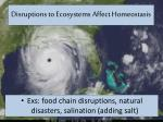 disruptions to ecosystems affect homeostasis