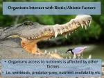 organisms interact with biotic abiotic factors