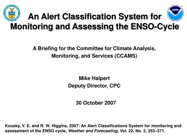 an alert classification system for monitoring and assessing the enso cycle n.