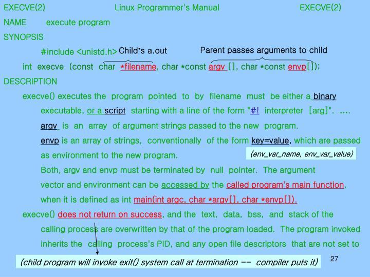 EXECVE(2)           Linux Programmer's Manual           EXECVE(2)