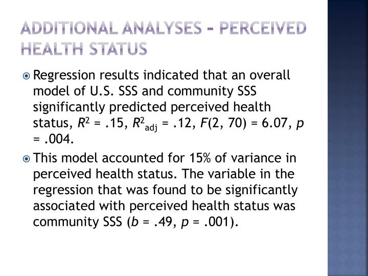 additional analyses – perceived health status