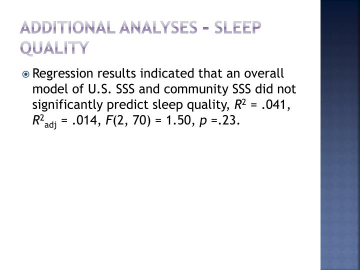 additional analyses – sleep quality