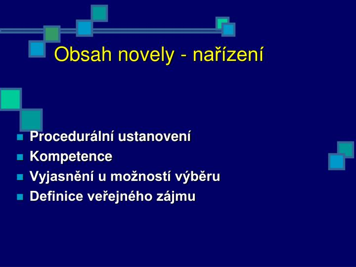 Obsah novely - nařízení