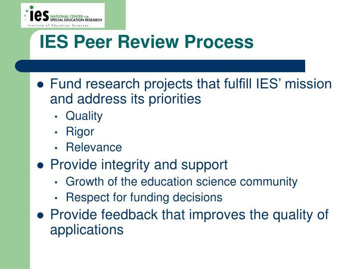 IES Peer Review Process