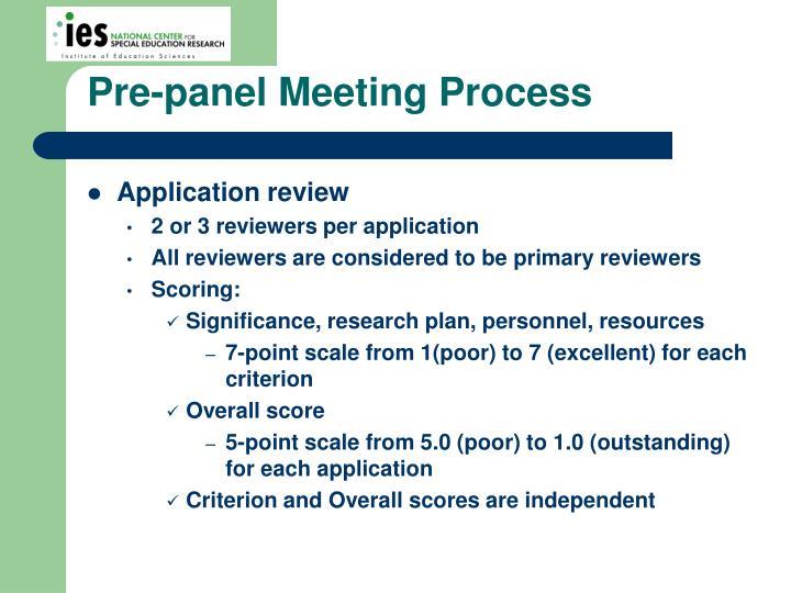 Pre-panel Meeting Process