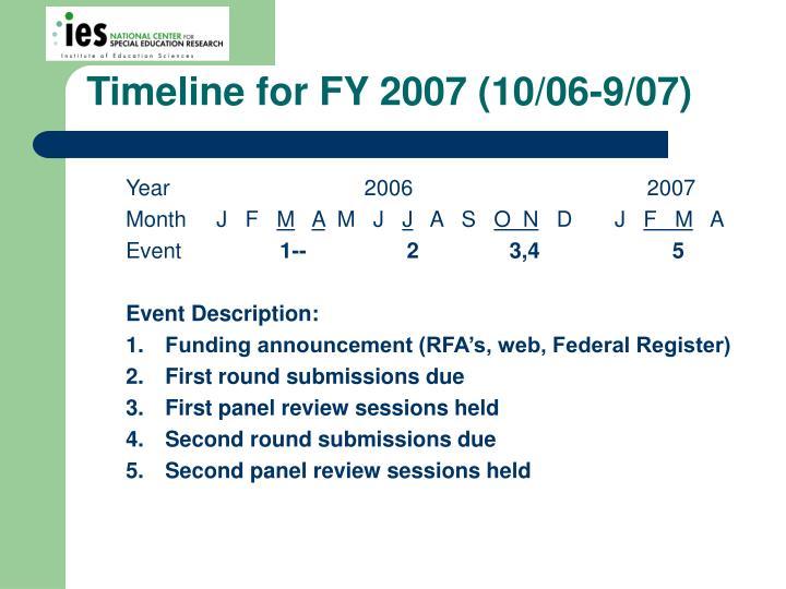 Timeline for FY 2007 (10/06-9/07)