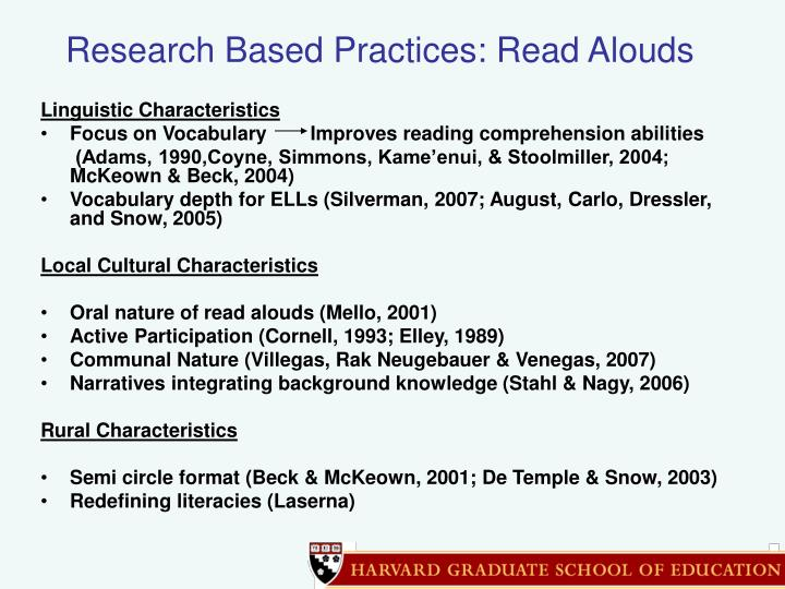 Research Based Practices: Read Alouds