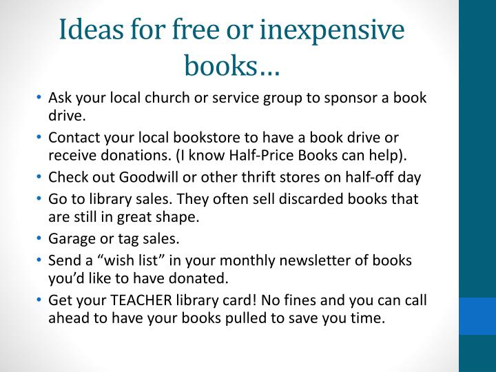 Ideas for free or inexpensive books…