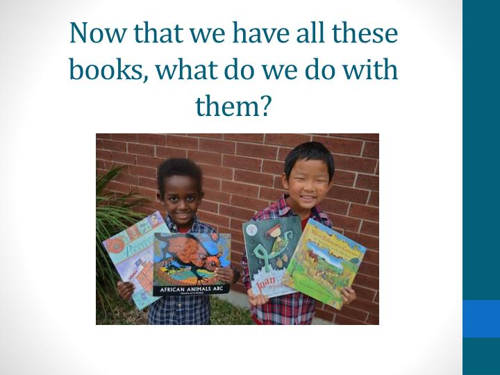 Now that we have all these books, what do we do with them?
