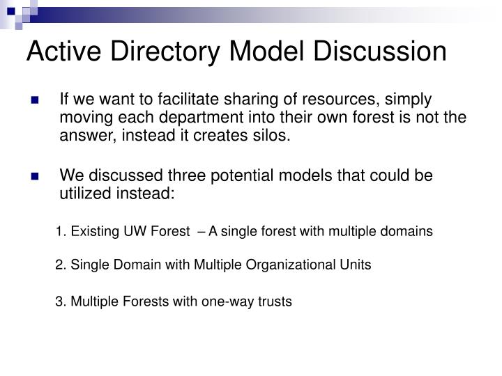 Active directory model discussion