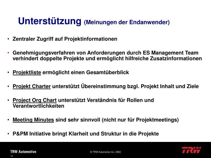 Zentraler Zugriff auf Projektinformationen