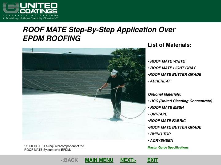 PPT - ROOF MATE Step-By-Step Application Over EPDM ROOFING