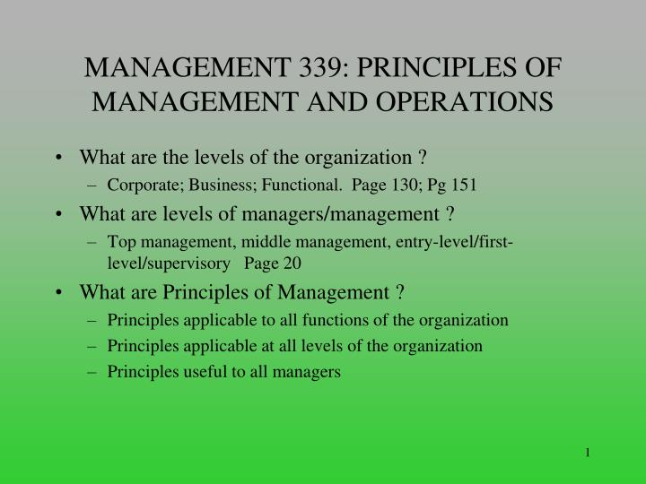 PPT - MANAGEMENT 339: PRINCIPLES OF MANAGEMENT AND