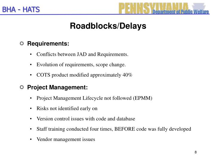 Roadblocks/Delays