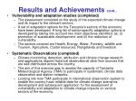 results and achievements cont