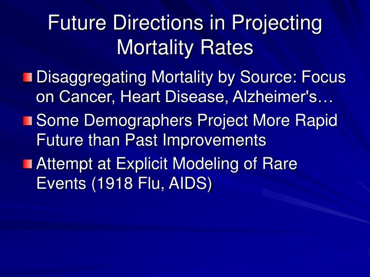 Future Directions in Projecting  Mortality Rates
