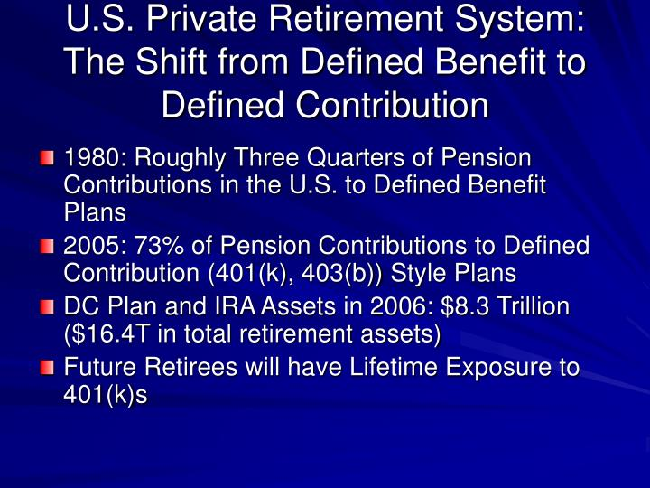 U s private retirement system the shift from defined benefit to defined contribution