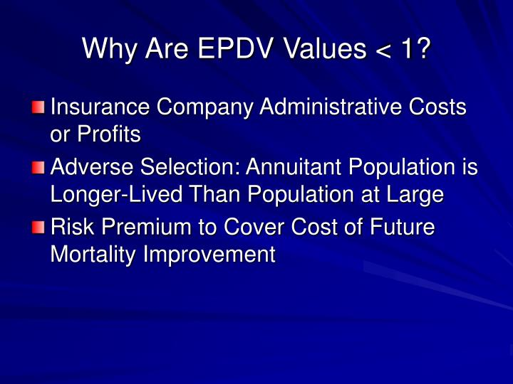 Why Are EPDV Values < 1?