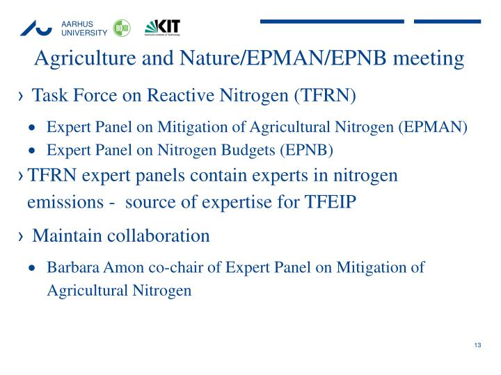 Agriculture and Nature/EPMAN/EPNB meeting