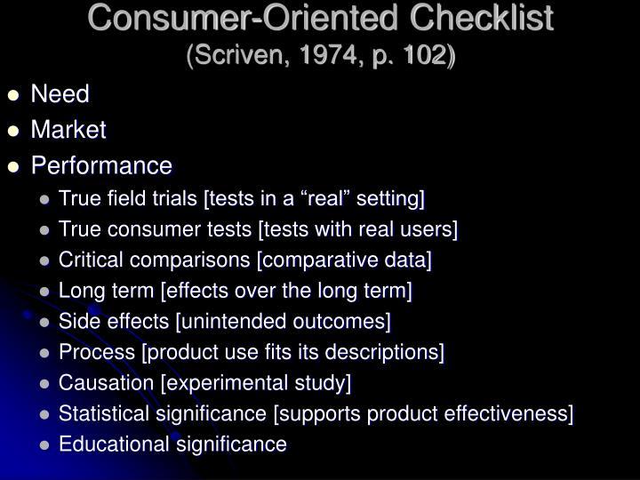 Consumer-Oriented Checklist