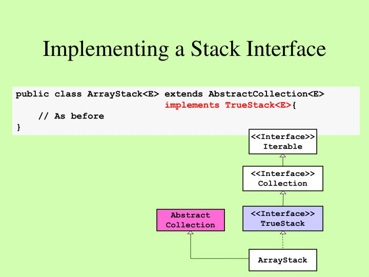 Implementing a Stack Interface
