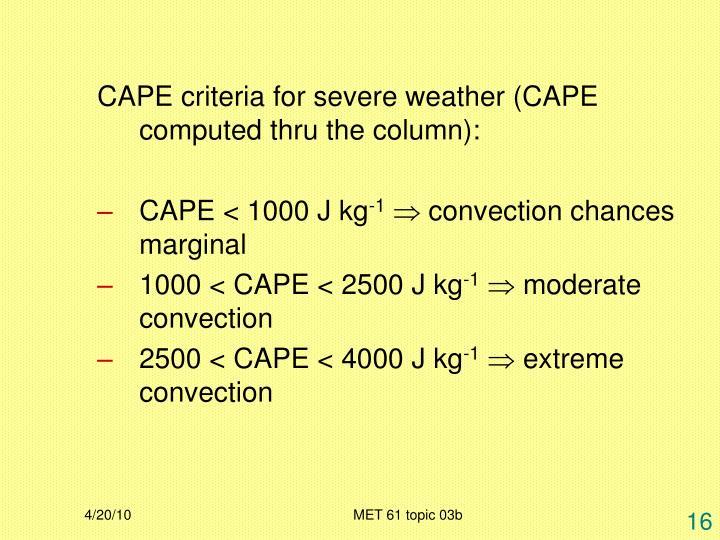 CAPE criteria for severe weather (CAPE computed thru the column):