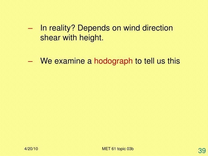 In reality? Depends on wind direction shear with height.