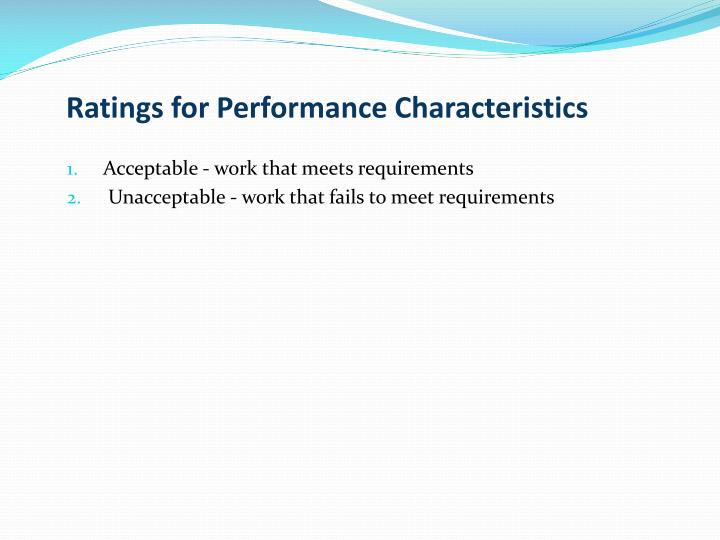 Ratings for Performance Characteristics