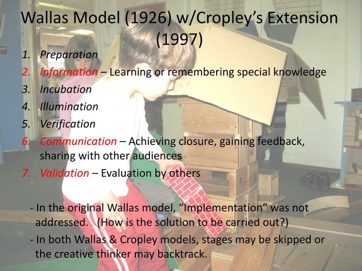 Wallas Model (1926) w/Cropley's Extension (1997)