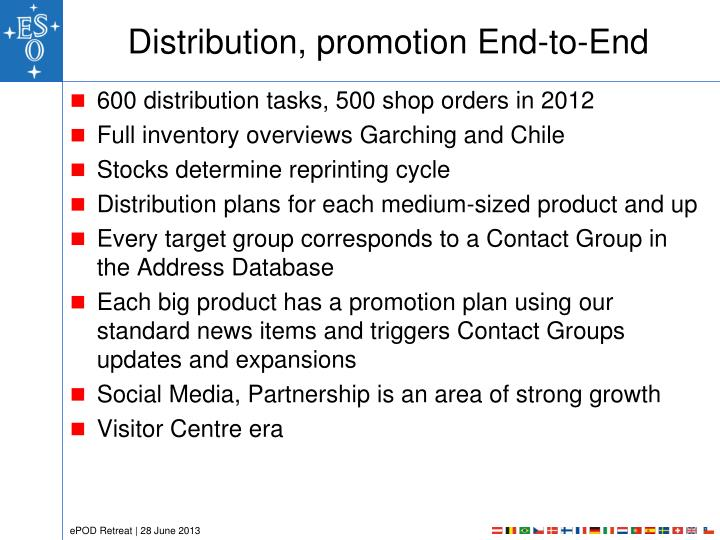 Distribution, promotion End-to-End