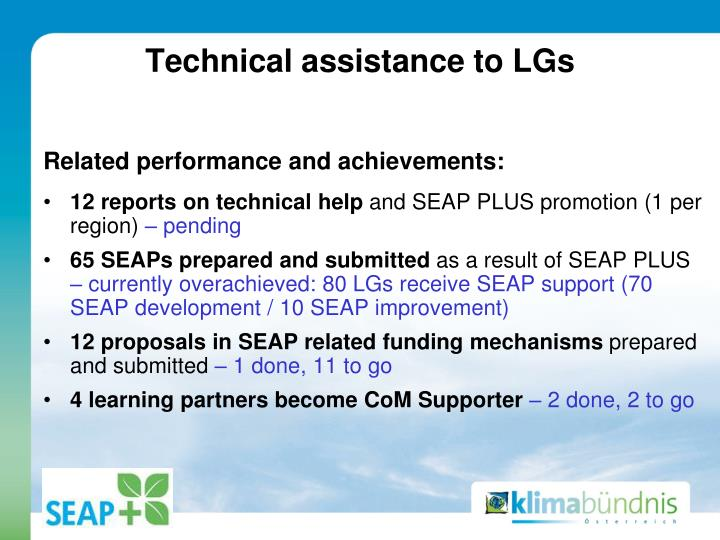Technical assistance to LGs
