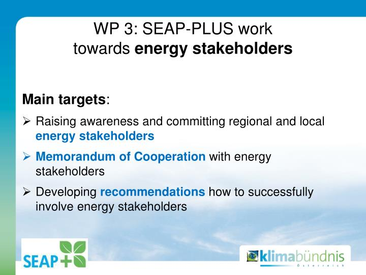 WP 3: SEAP-PLUS work