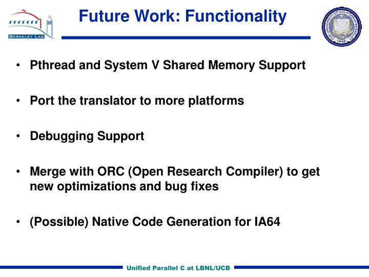 Future Work: Functionality