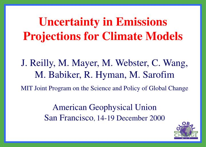 Uncertainty in emissions projections for climate models