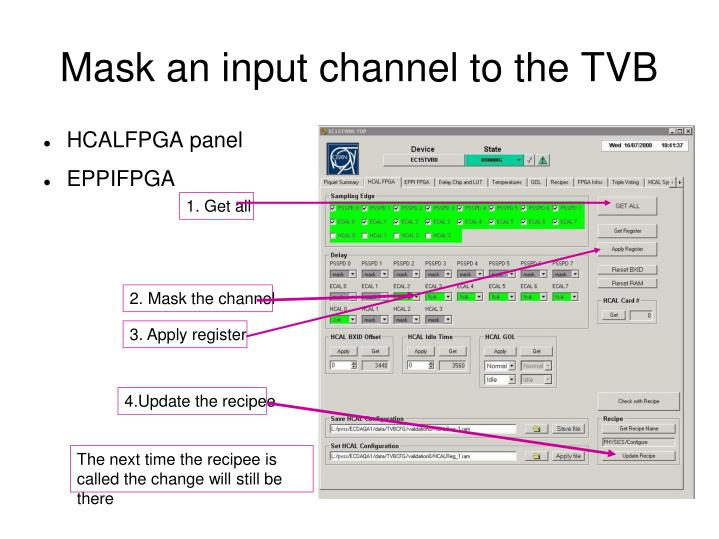 Mask an input channel to the TVB