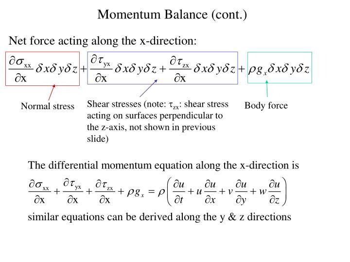 Momentum Balance (cont.)