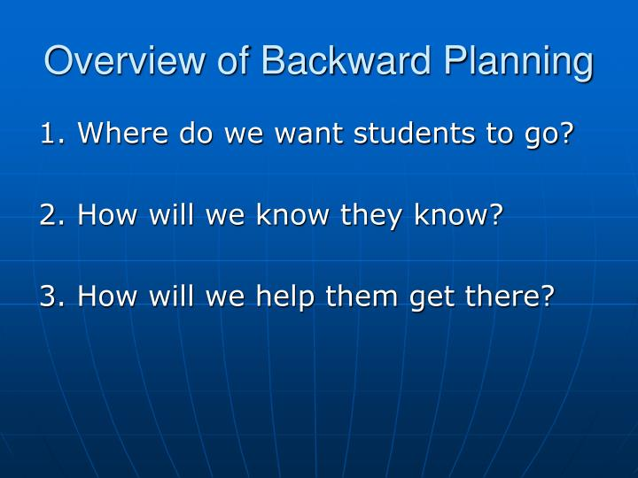 Overview of Backward Planning