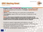 erc starting grant profile of the pi