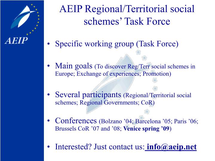 AEIP Regional/Territorial social schemes' Task Force
