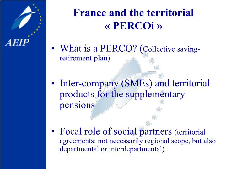 France and the territorial «PERCOi»