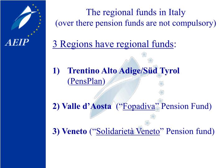 The regional funds in Italy