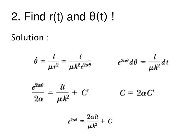 2. Find r(t) and