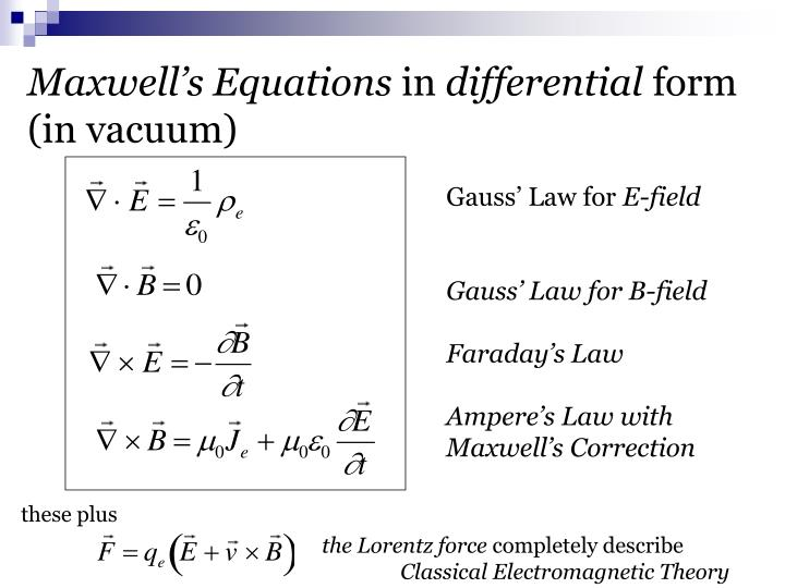 maxwell faraday and maxwell ampere equations Maxwell's equations indicate that the e fields and h fields are in phase, but everyone knows that the e fields and the h fields are in quadrature at the source, (antenna) current and voltage in the dipole are clearly in quadrature, and the h field at the antenna is clearly in phase with the current in the dipole.