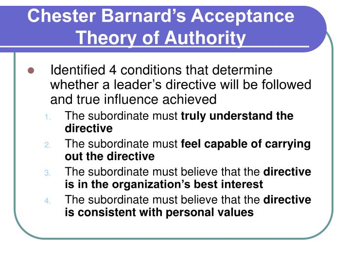 acceptance theory of authority barnard